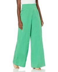 BCBGMAXAZRIA Long Linen Pant - Green