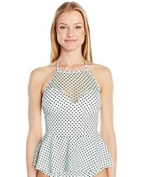 Betsey Johnson S Swimwear Duo Dot Halterkini High Neck Peplum Swimsuit Tankini Top - Black