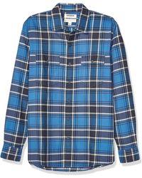 Goodthreads Marca Amazon – – Camiseta de manga larga de corte entallado de sarga a cuadros para - Azul