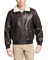 Dockers Big Maverick Faux Leather Sherpa Collar Aviator Bomber Jacket (standard & Big-tall) - Brown