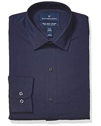 Buttoned Down Amazon Brand - Classic Fit Performance Tech Stretch Dress Shirt, Supima Cotton Easy Care - Blue