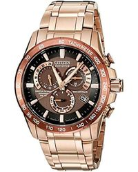 Citizen - Eco-drive Rose Goldtone Perpetual Chrono A-t Watch - Lyst