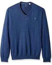 GANT - Lightweight Cotton V-neck Sweater - Lyst
