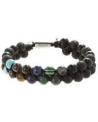 Steve Madden Multi Color Stone Double Strand Adjustable Bracelet In Stainless Steel - Multicolor