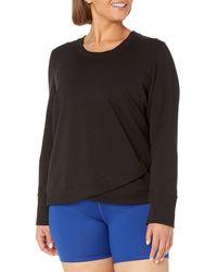 Core 10 Plus Size Cotton Modal French Terry Fleece Crossed Front Yoga Sweatshirt - Black