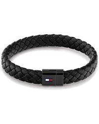 Tommy Hilfiger Jewellery Round Braided Leather Bracelet Color: Black
