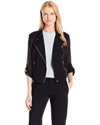 Jones New York - Mesh Moto Jacket - Lyst