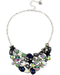 Betsey Johnson Mixed Star & Stone Cluster Statement Bib Necklace - Blue
