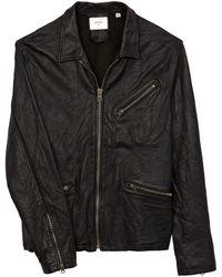 Billy Reid Leather Antique Brass Zip Blake Jacket - Black