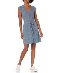 Goodthreads Fluido Twill Tulip iche Tie-Waist Vestito Dresses - Blu