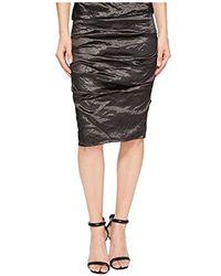 Nicole Miller Sandy Metal Pencil Skirt - Black