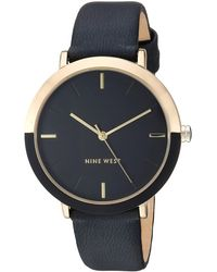 Nine West Gold-tone And Black Strap Watch - Multicolor