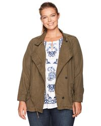 Lucky Brand Plus Size Asymmetrical Military Jacket - Multicolor