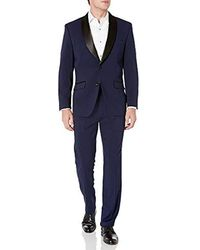 Perry Ellis Slim Fit Stretch Wrinkle-resistant Tuxedo - Blue