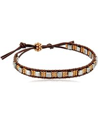 Miguel Ases Pyrite Cube And Miyuki Mixed Metal Single Row Brown Leather Slip Knot Bracelet