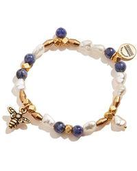 ALEX AND ANI Honey Bee Beaded Charm Stretch Bracelet One Size - Metallic