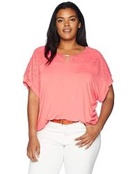 dff934665117fa Calvin Klein - Plus Size Short Sleeve Top With Lace Yoke And Hardware - Lyst