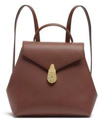 Calvin Klein Lock Daytona Leather Statement Backpack Rucksack - Braun