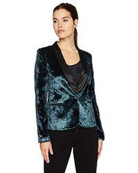 James Jeans - Tuxedo Jacket Satin Blazer In Emerald Crushed Velvet - Lyst