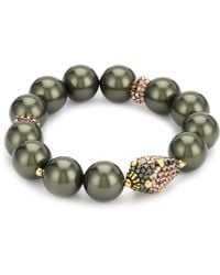 Miguel Ases Ocean Pearl And Rose Gold Beaded Station Stretch Bracelet - Metallic
