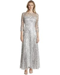 Tahari Long Sleeve Sequin Embroidered Gown - Gray