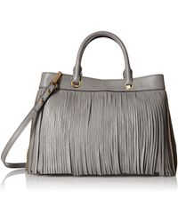 MILLY Essex Fringe Tote - Gray