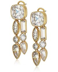 Nicole Miller - Mixed Cushion Two Row Drop Earrings - Lyst