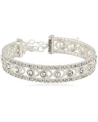 Napier Silver-tone And Crystal Coil Cuff Bracelet - Metallic