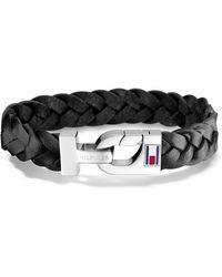 Tommy Hilfiger Jewelry Leather Thick Braided Bracelet - Black
