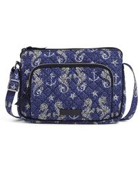Vera Bradley With Protection S Signature Cotton Rfid Little Hipster Crossbody Purse Seahorse Of Course One S - Blue