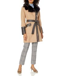 Via Spiga Kate Mid-length Belted Wool Asymmetric Zip Front Coat With Faux Fur Collar - Natural