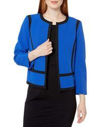 Kasper Contrast-trim Open-front Jacket - Blue
