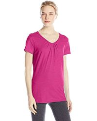Hanes - Shirred V-neck T-shirt - Lyst