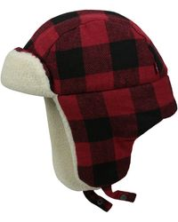 Levi's Buffalo Plaid Trapper Hat With Sherpa Lining - Red