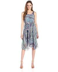 Nanette Nanette Lepore - Slvls Printed Chiffo Dress With Faux Wrap Skirt - Lyst