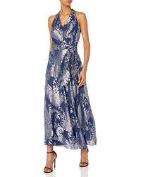 Chetta B Metallic Floral Gown - Blue