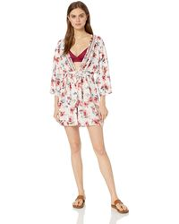 Lucky Brand Kimono Sleeve Tie Front Romper Cover Up - Multicolor