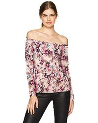 Guess - Long Sleeve Catrina Off Shoulder Lace Up Top - Lyst