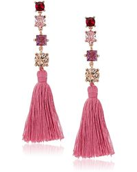 Badgley Mischka S Multi Stone Pink Tassel Drop Earrings - Multicolor