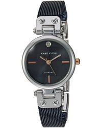 Anne Klein Diamond-accented Silver-tone And Blue Mesh Bracelet Watch - Metallic