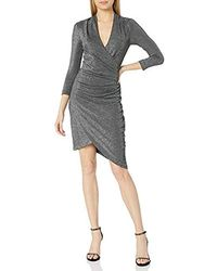 Nicole Miller Silver Glitz Vneck Asymm Dress - Black