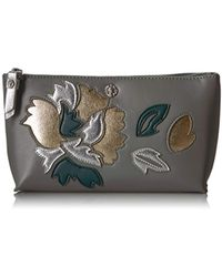Anne Klein V-pocket Small Cosmetic Pouch - Gray