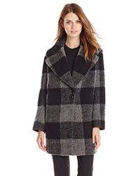 Kensie Plaid Cocoon Wool Coat - Black