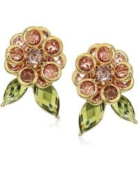 Anne Klein Channel Flower Button Gold/blush Stud Earrings - Pink