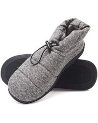 Hanes Mens Boot House Shoes With Indoor Outdoor Memory Foam Odor Protection Fresh Iq Sole Slipper - Gray