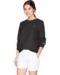 Lacoste Long Sleeve Fleece Crew Neck Sweatshirt - Black
