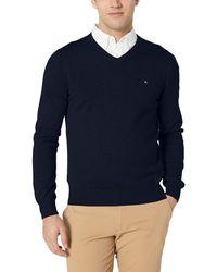 Tommy Hilfiger Cotton V Neck Sweater - Blue