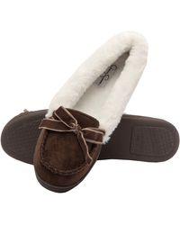 Jessica Simpson S Micro Suede Moccasin Indoor Outdoor Slipper Shoe,brown,small