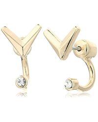 Sam Edelman - V Stone Front/back Earrings - Lyst