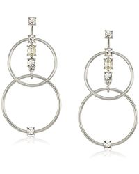 Guess - S Linked Rings Earrings With Stone Accents - Lyst